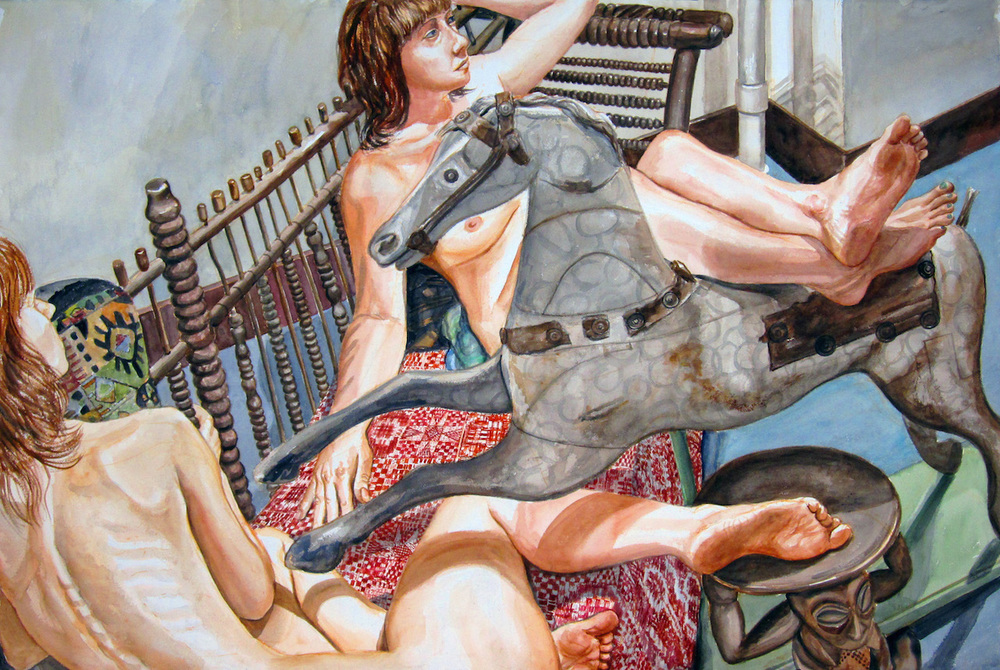 Two Models on Folk Art Settee with Rocking Horse , 2012 Watercolor 40 x 60 in