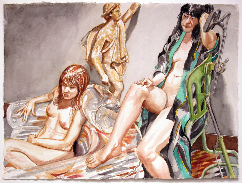 Two Models, Blow Up Chair, Examination Chair and Mercury , 2012 Watercolor 22.5 x 30 in