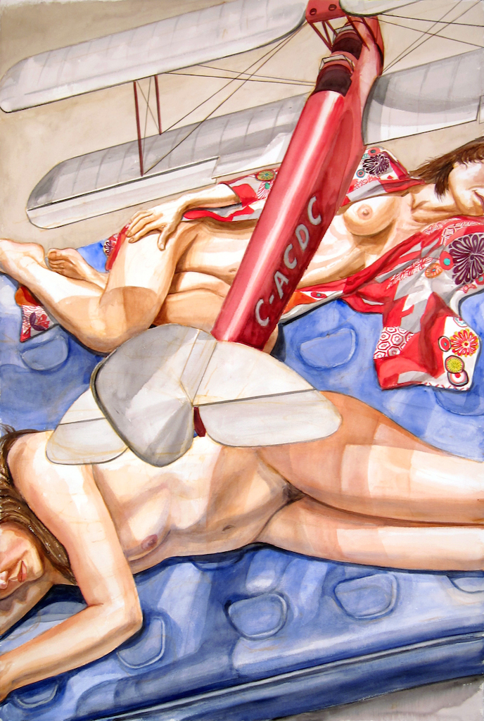 Models Lying Down with Model Airplane , 2013 Watercolor 60 x 40 in