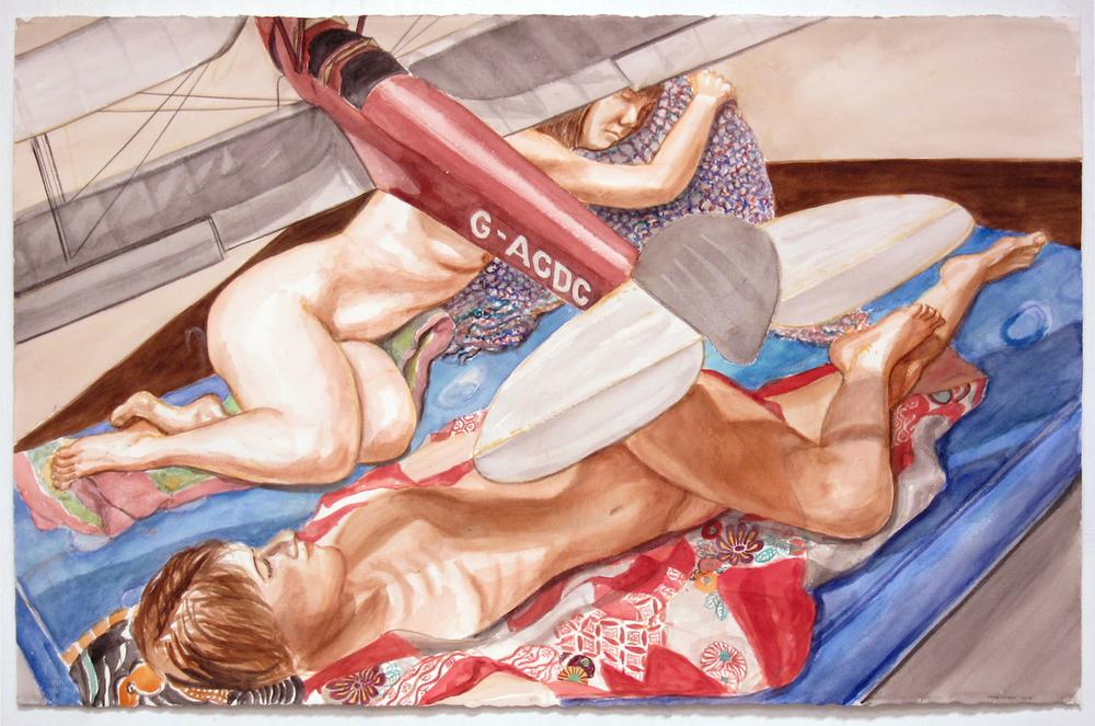 Study for Two Models with Model Biplane , 2014 Watercolor 25.75 x 40 in