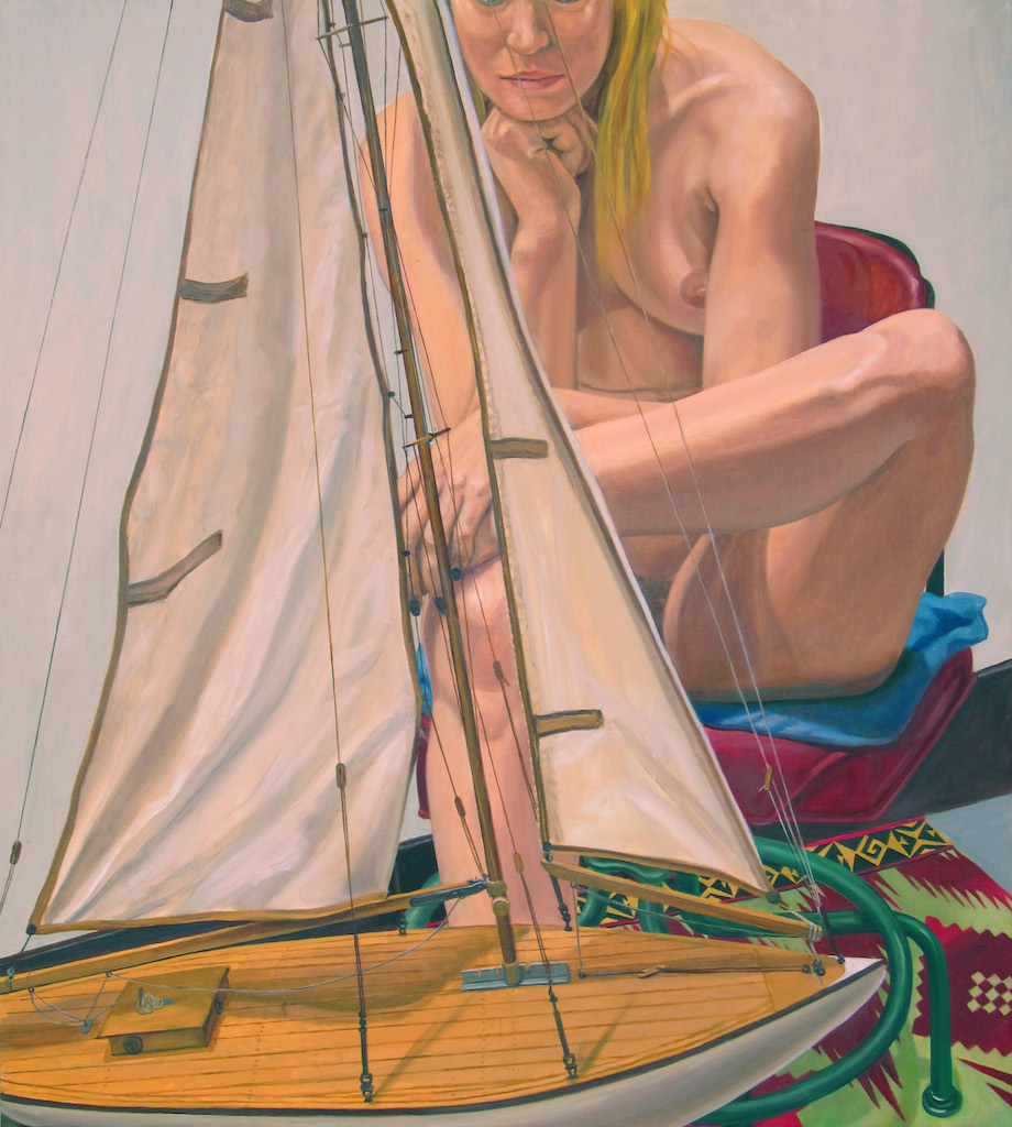 Model with Pond Boat , 2014 Oil on canvas 40 x 36 in