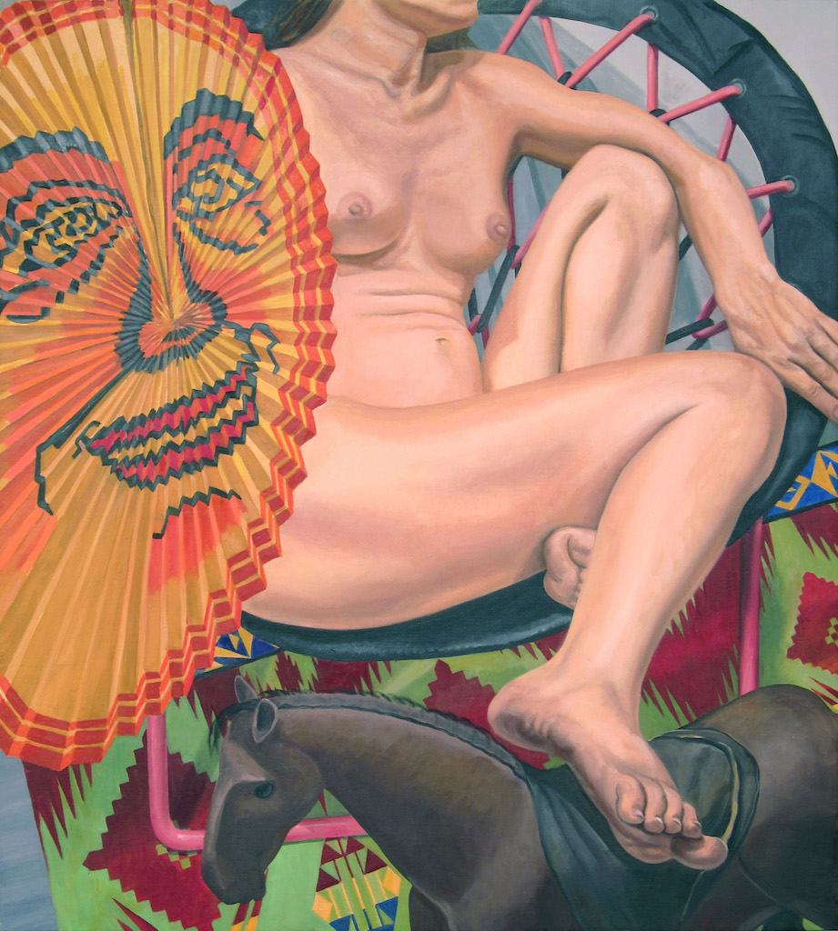 Model with Japanese Lantern and Folk Art Horse , 2014 Oil on canvas 40 x 36 in