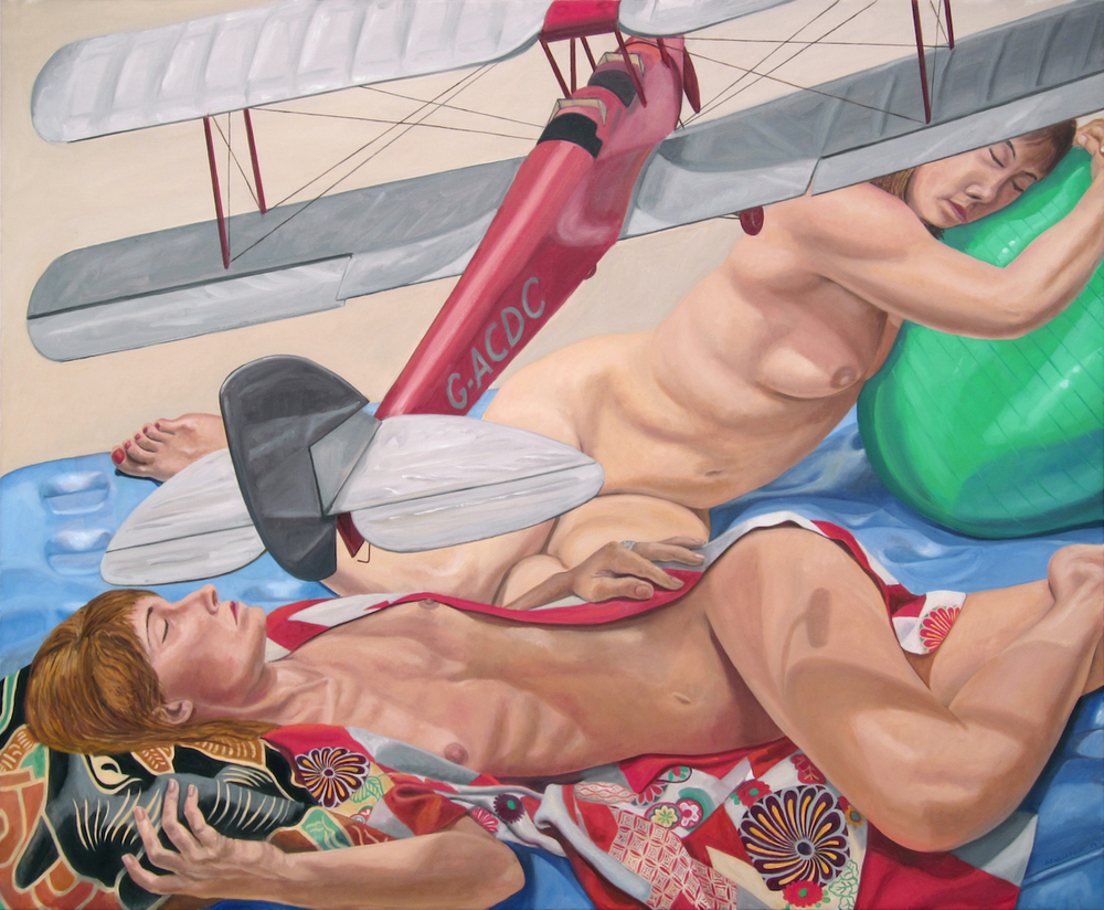 Models Lying Down with Model Bi Plane and Exercise Ball , 2014 Oil on canvas 48 x 60 in