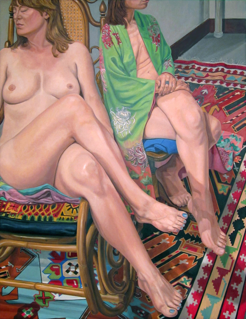 Two Female Models Sitting with Legs Crossed and Kazak Rug , 2013 Oil on canvas 84 x 60 in