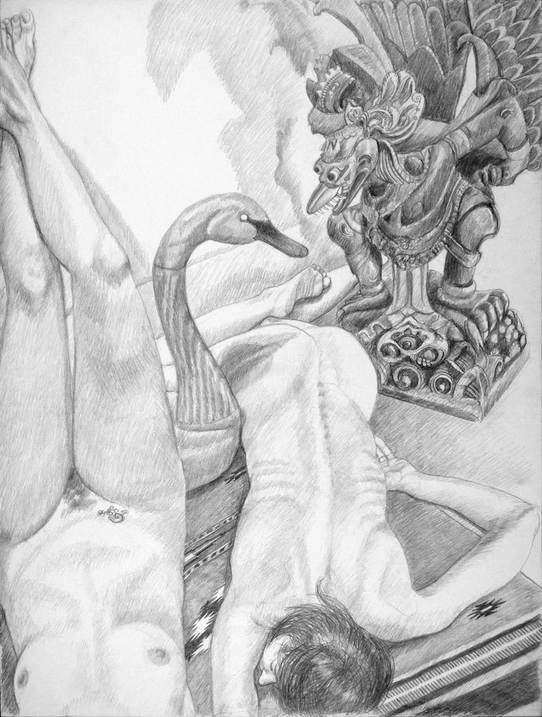 Two Models with Swan Decoy and Carved Garuda Figure , 2013 Pencil 40 x 30 in