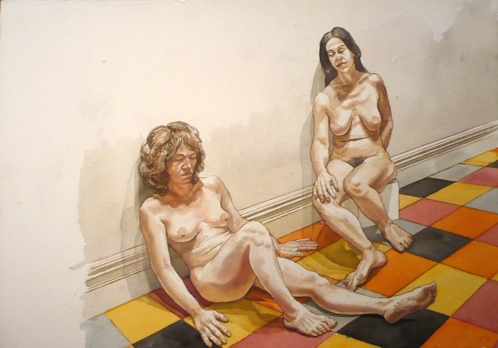 Two Female Models Leaning Against Wall , No Date Watercolor 20.75 x 29.375 in