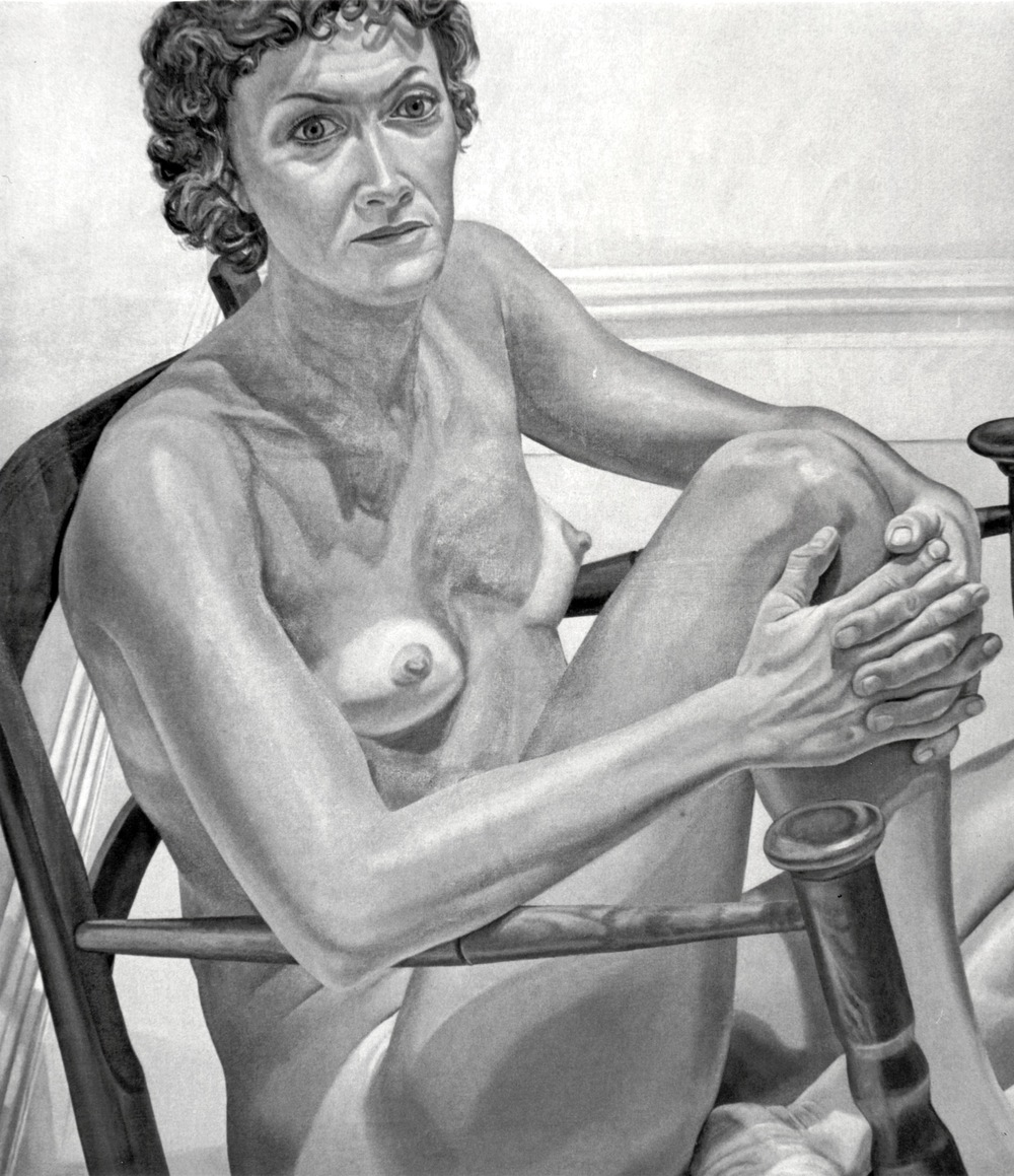 Nancy Meltzer , 1975 Oil on canvas 48 x 41.5 in (B & W image of color painting)