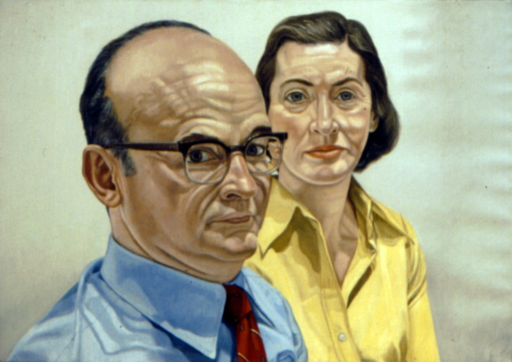 Jarome and Ponnie Weiner , 1975 Oil on canvas 28 x 40 in