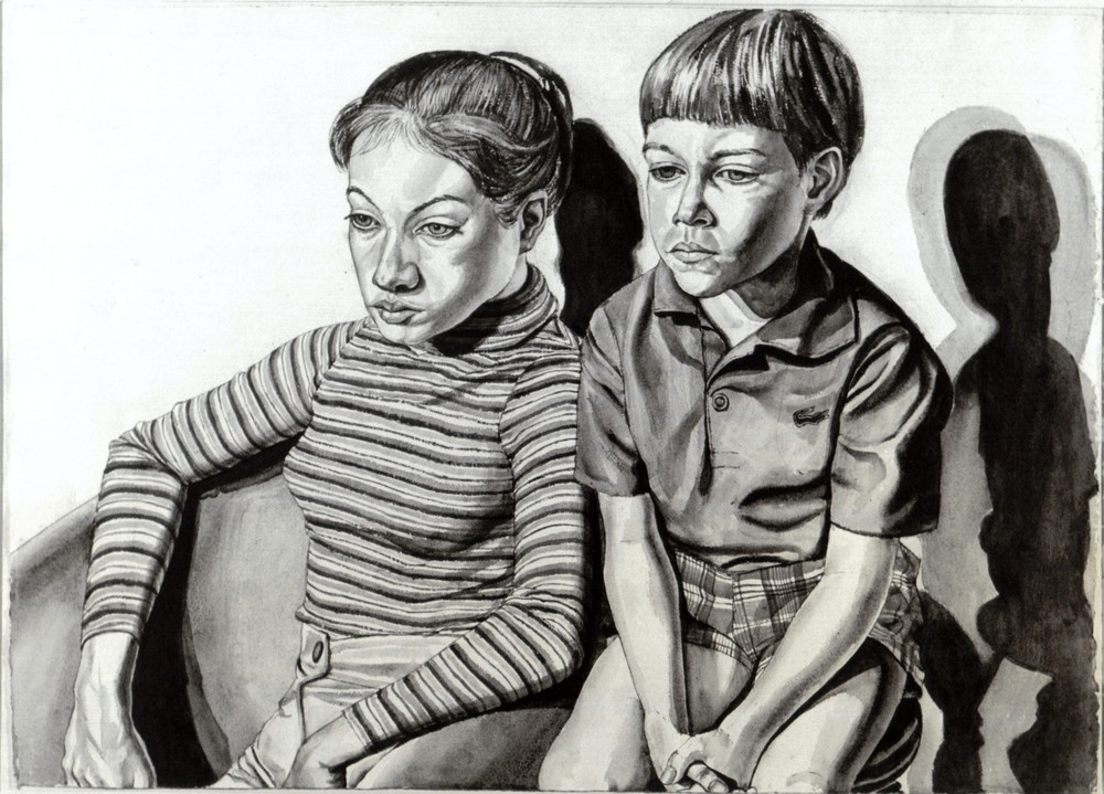Michael Berger's Children , 1970 Watercolor (B&W image of color painting)