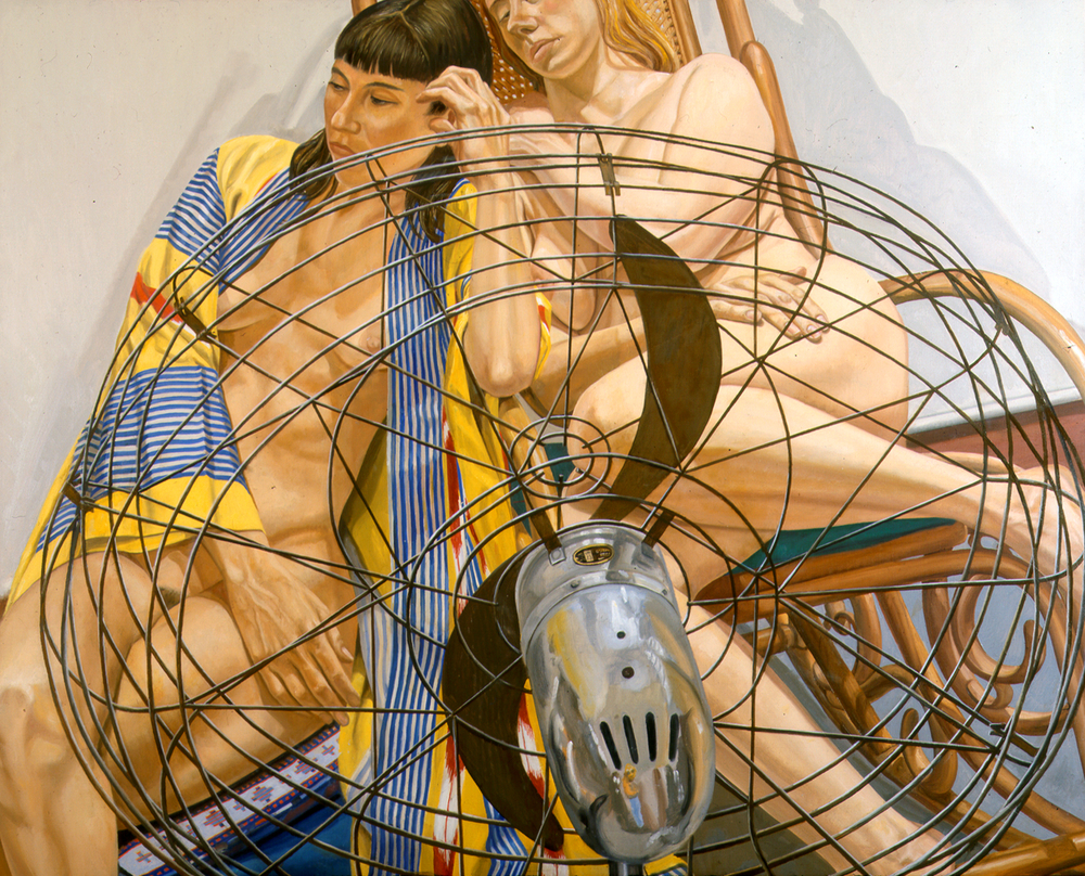 Two Models with Fan in Front , 2000 Oil on canvas 48 x 60 in