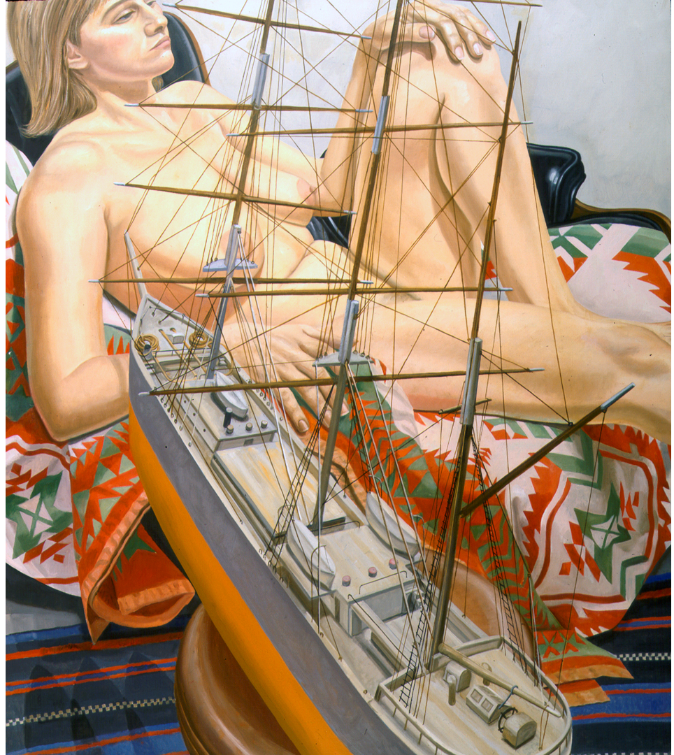 Model with Model of Tall Ship , 1999 Oil on canvas 50.5 x 44.5 in