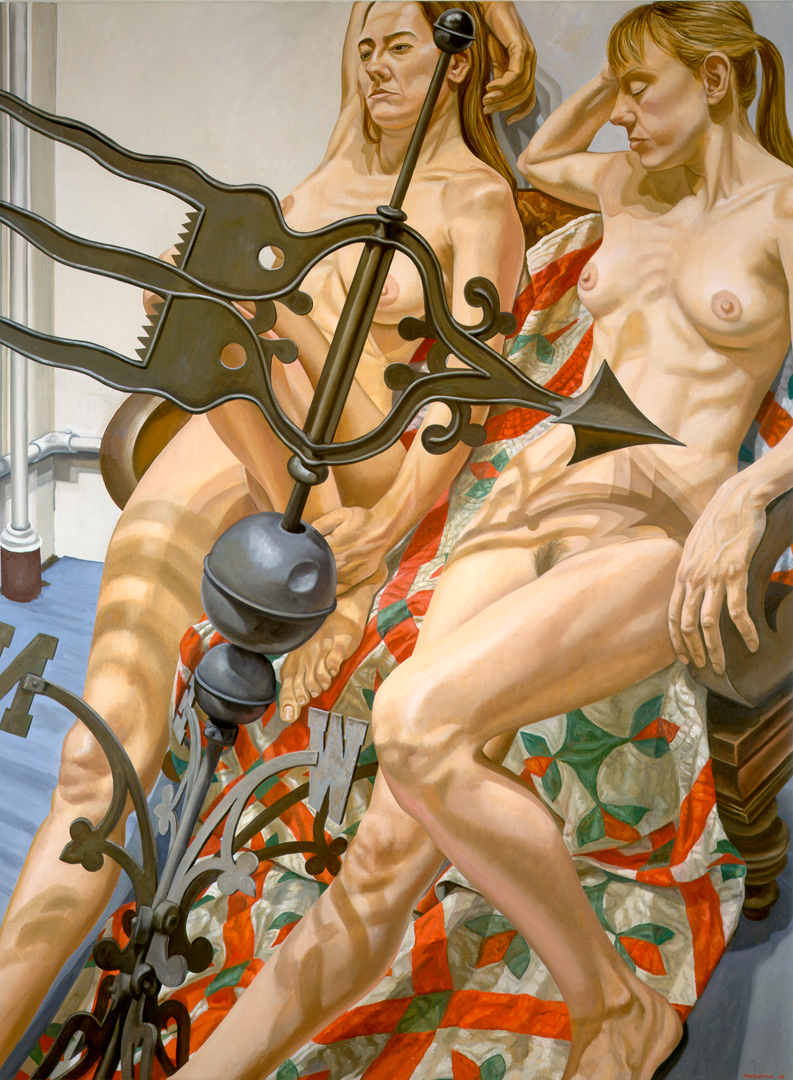 Two Nudes with Banner Weathervane , 1998 Oil on canvas 72 x 54 in