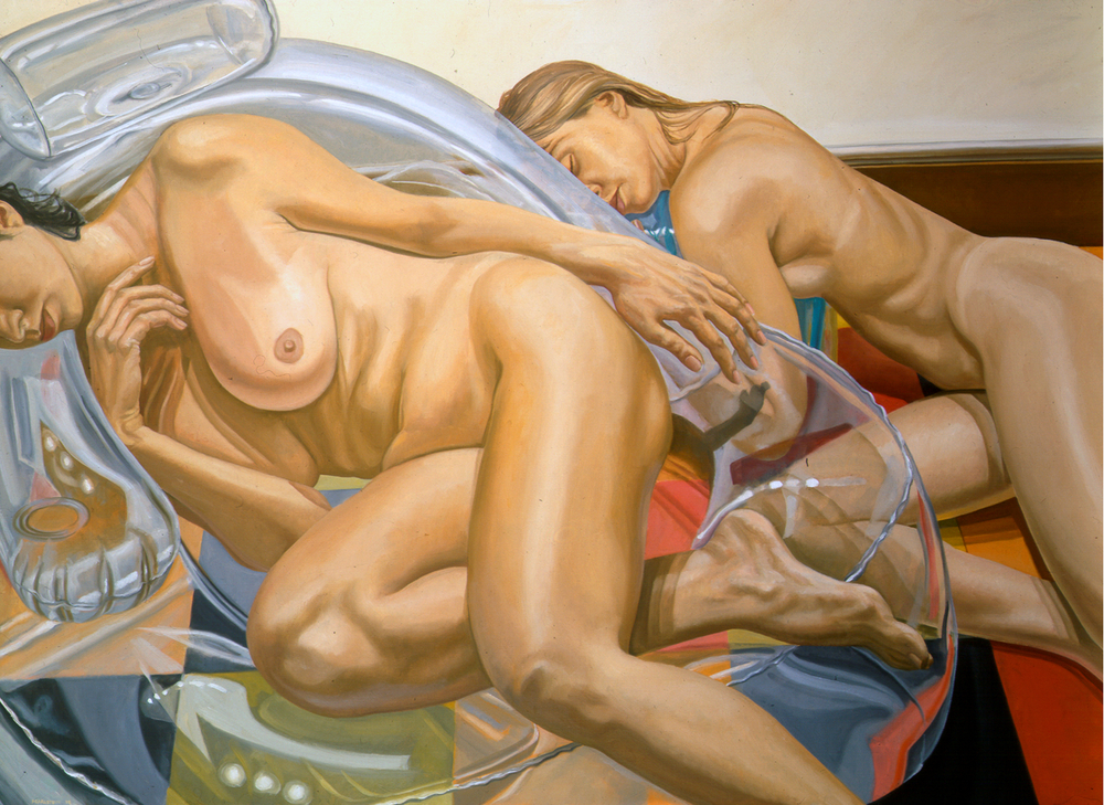 Two Models with Blow Up Chair , 1998 Oil on canvas 48 x 66 in