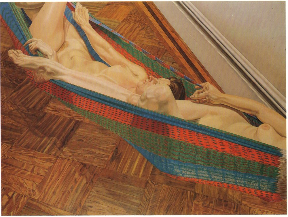 Two Female Models in Hammock , 1977-78 Oil on canvas 72 x 96 in