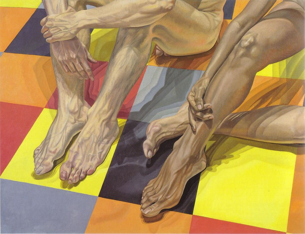 Hands and Feet and Linoleum , 1984 Oil on canvas 52 x 67.5 in