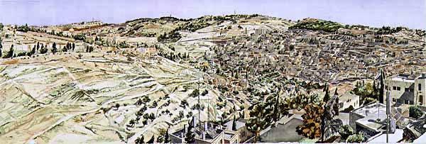 Jerusalem, Kidron Valley , 1987-88 Woodcut 40.125 x 119 in