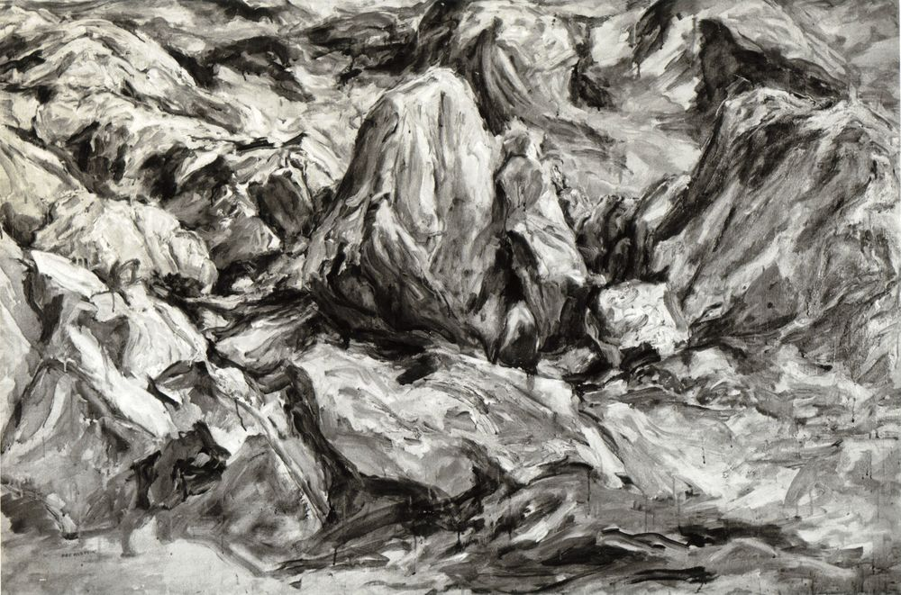 Glacier Scraped , 1958 Oil on canvas 40 x 60 in (B&W image)