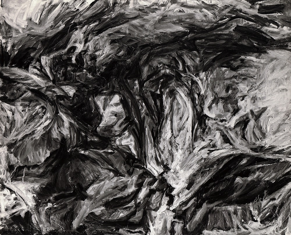 Cave Forms , 1958 Oil on canvas 41 x 51 in (B&W image)