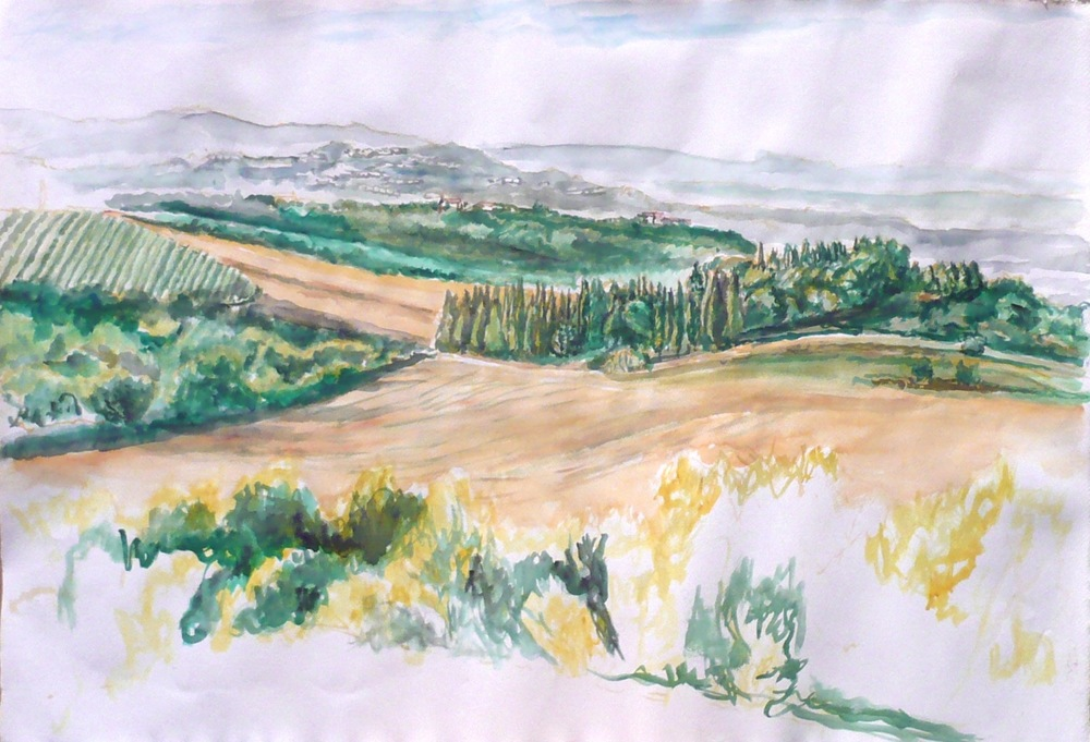 View Towards Chiusi , 2009 Watercolor on paper 22.25 x 32 in