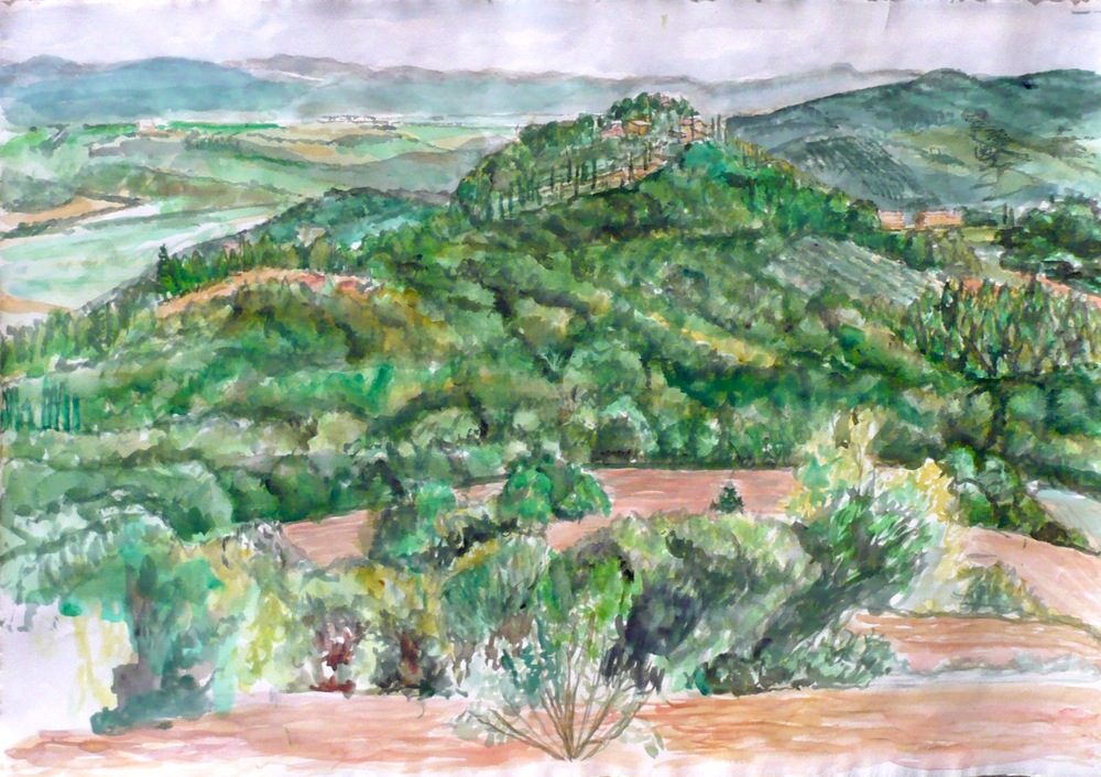 View Towards Lake Tresimano , 2009 Watercolor on paper 22.25 x 32 in