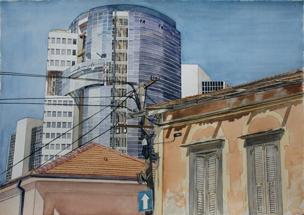 Old Neighborhood, Tel Aviv , 1997 Watercolor on Paper 29 x 42 inches