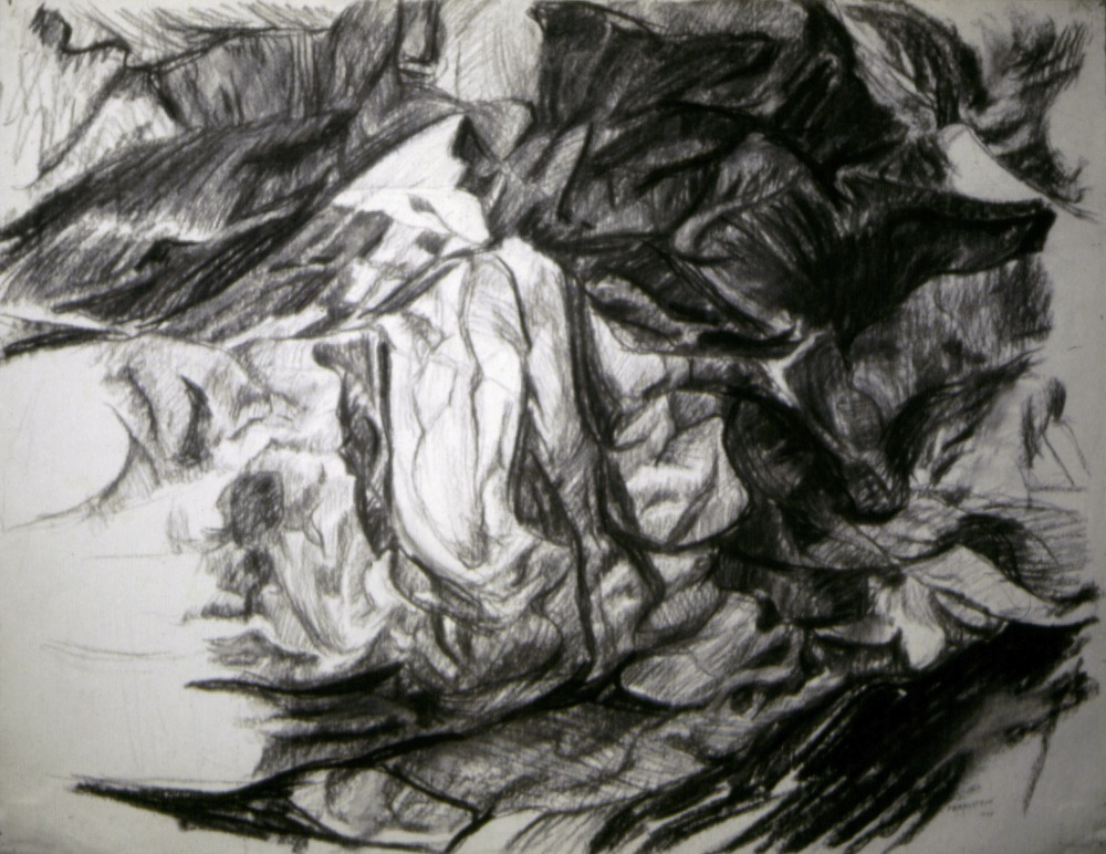 Rock study , 1955 Charcoal on paper