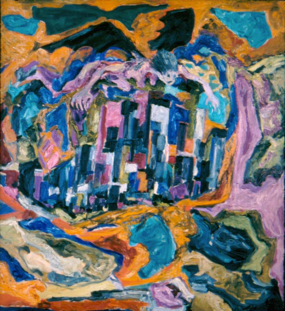 Angel of Death Over City , 1952 Oil on canvas 40 x 36 in
