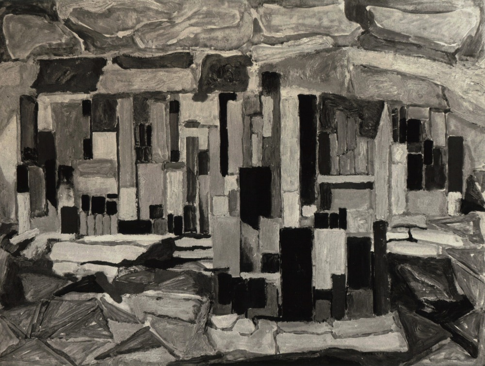 Study for The City , 1950 Casein & Oil on board 18 x 24 in