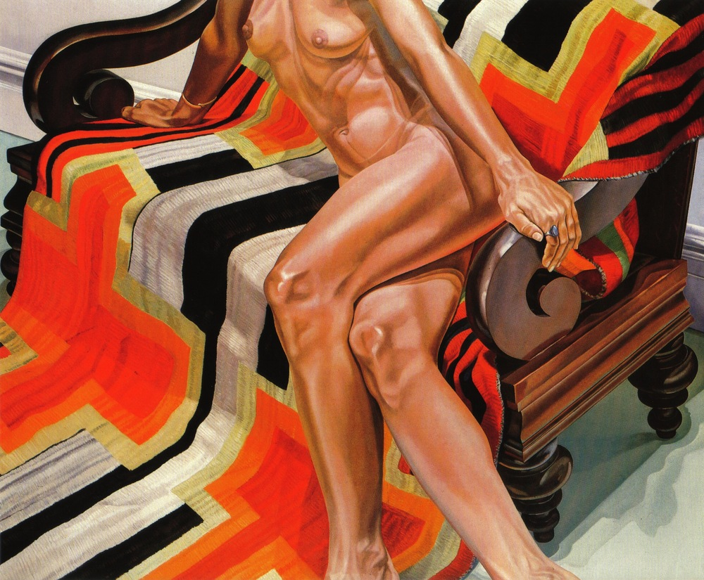 Female Model on Chief's Blanket , 1978 Oil on canvas 60 x 72 in