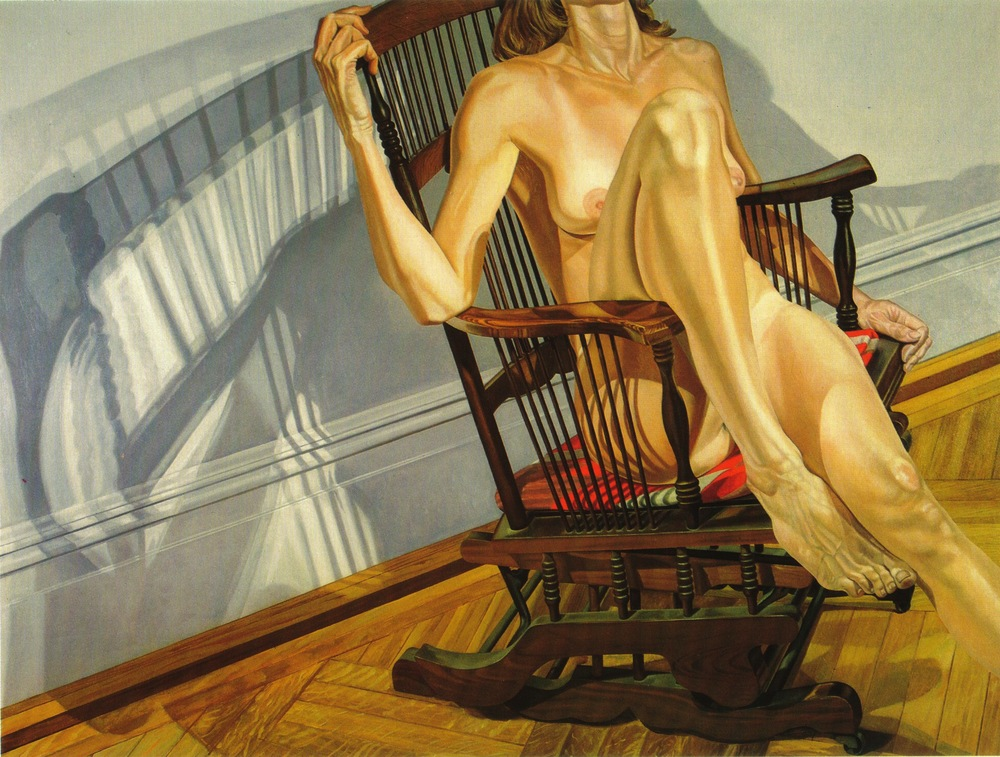 Female Model on Platform Rocker , 1977-78 Oil on canvas 72 x 96 in