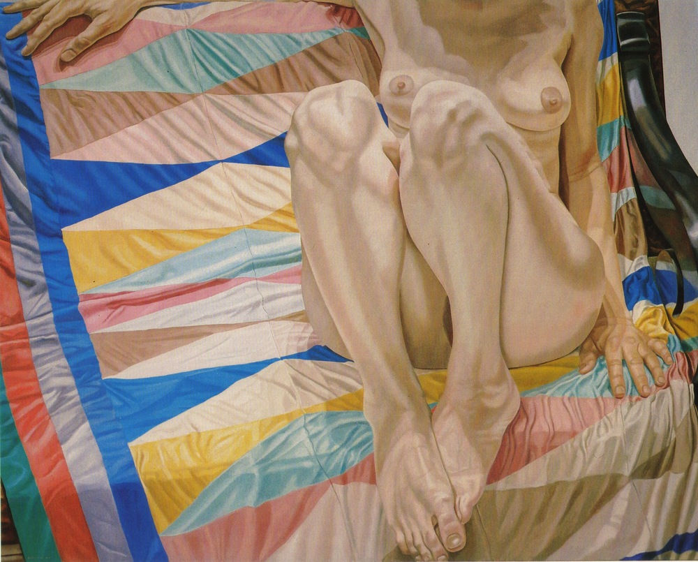 Female Model on Lozenge Patterned Drape , 1977 Oil on canvas 48 x 60 in