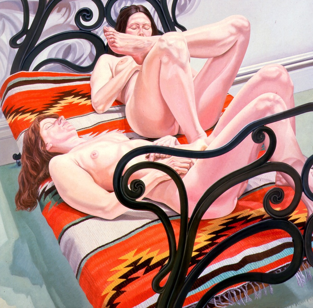 Two Female Models on Cast Iron Bed , 1976 Oil on canvas 72 x 72 in
