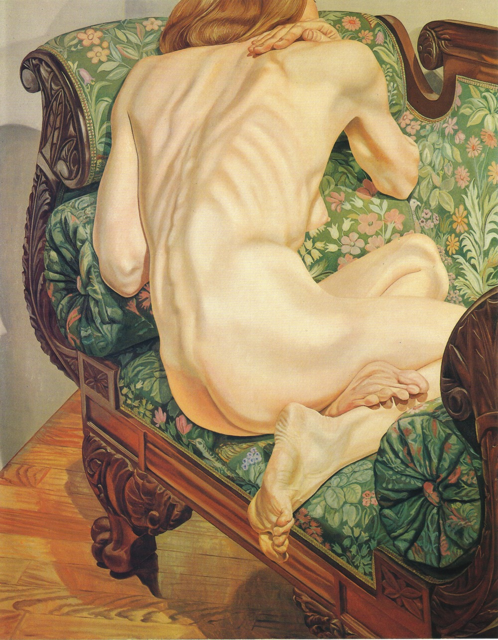 Female Model on Brocade Sofa , 1975 Oil on canvas 60 x 48 in