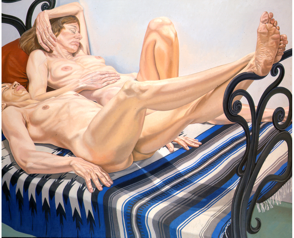 Two Female Models on Cast Iron Bed , 1975 Oil on canvas 60 x 72 in