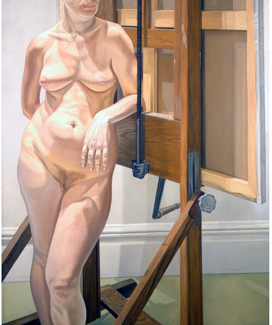 Female Model Standing by Easel , 1974 Oil on canvas 72 x 60 in