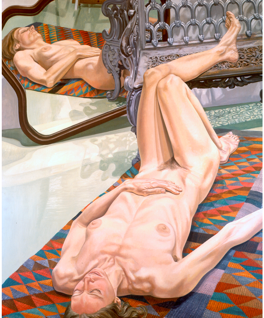 Female Model on Rug with Bench and Mirror , 1974 Oil on canvas 72 x 60 in