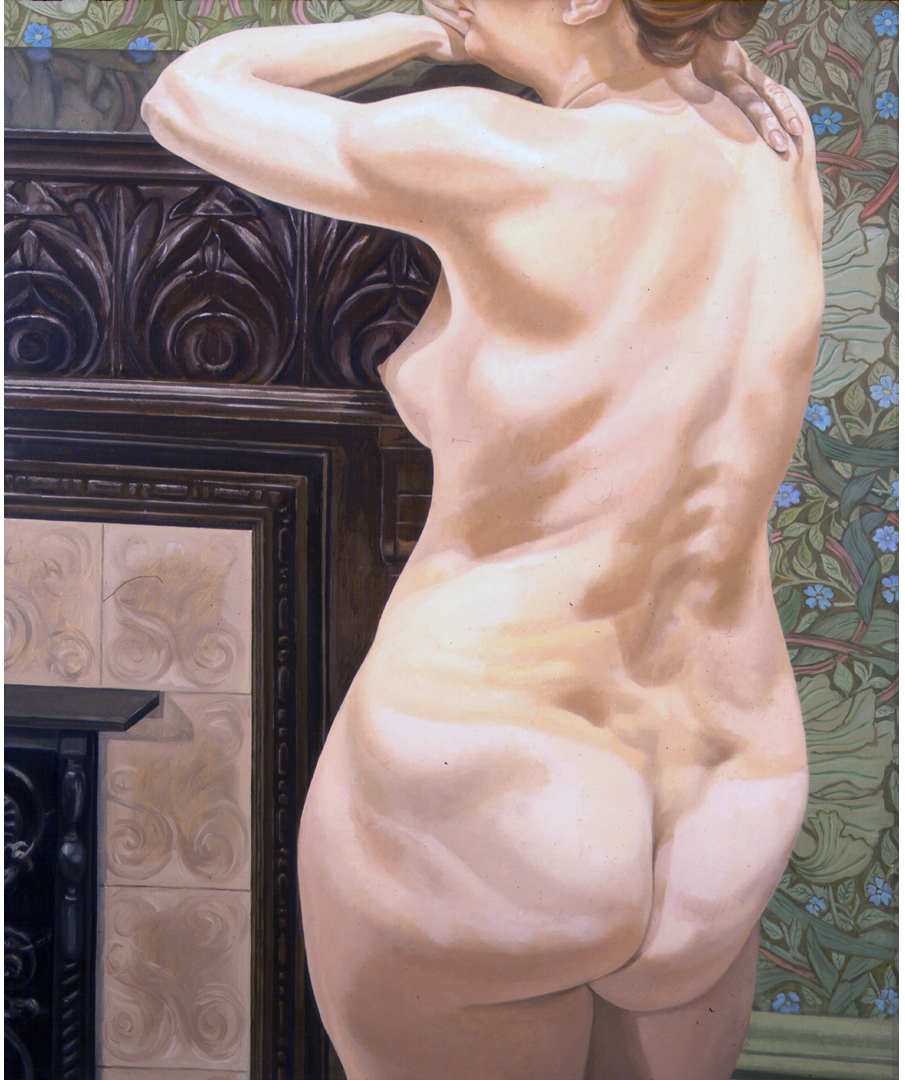 Female Model Leaning on Mantel , 1974 Oil on canvas 48 x 40 in
