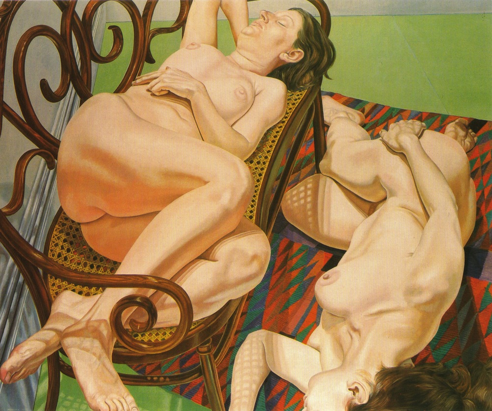 Two Female Models on Bentwood Love Seat and Rug , 1974-75 Oil on canvas 60 x 72 in