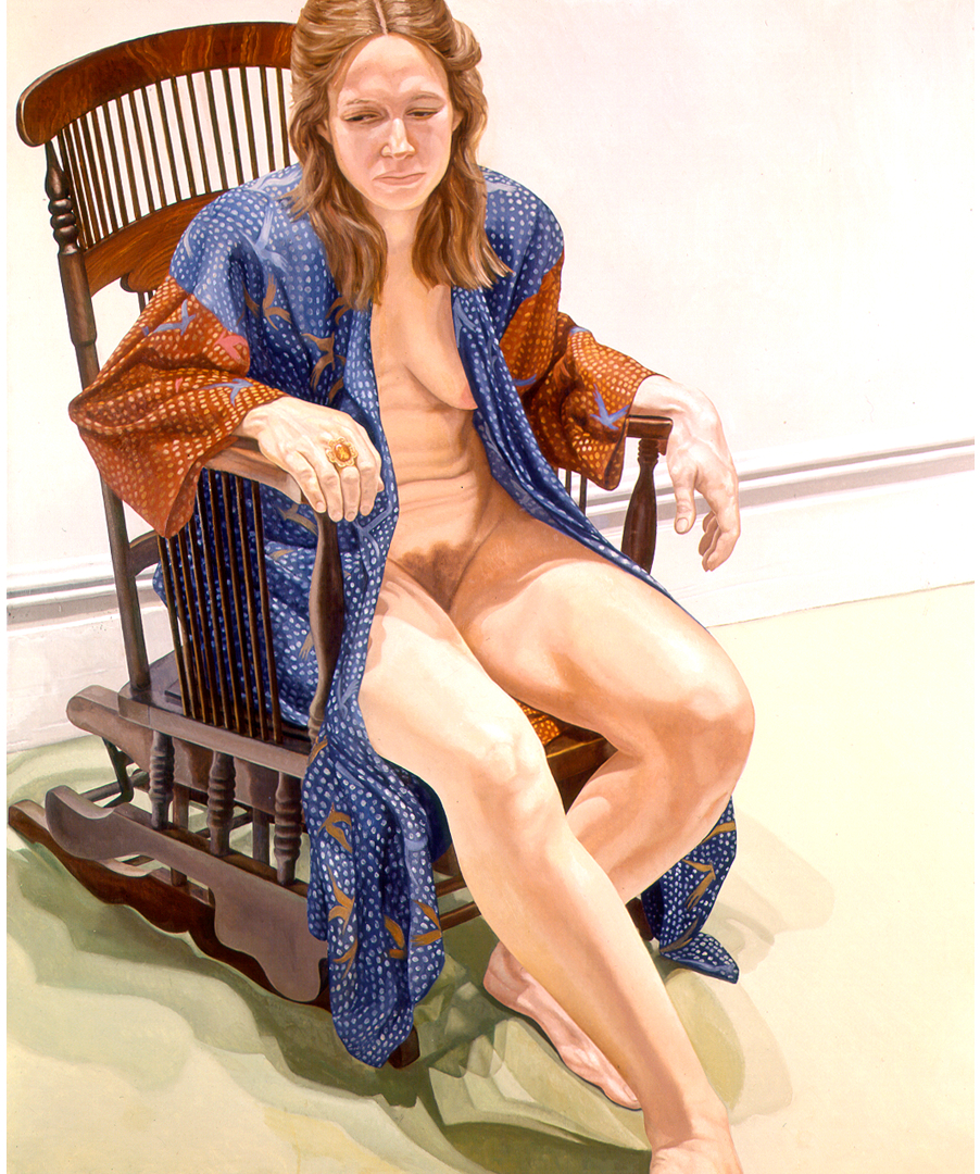 Female Model in Robe Seated on Platform Rocker , 1973 Oil on canvas 72 x 60 in