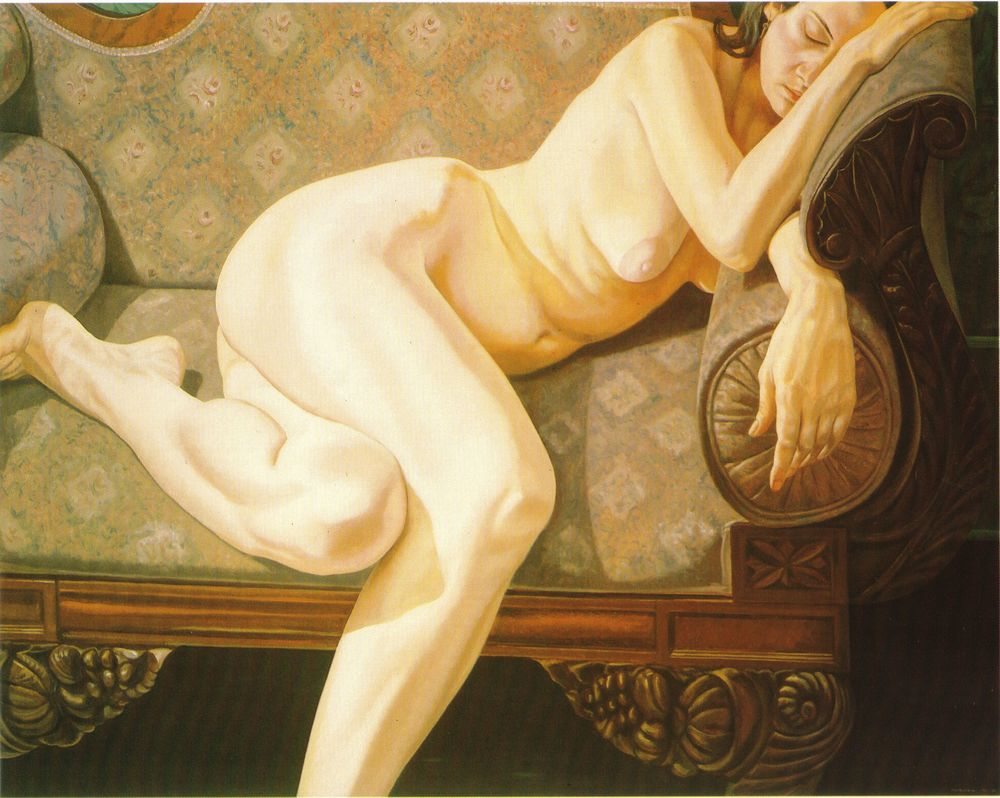 Female Model Reclining on Empire Sofa , 1973 Oil on canvas 48 x 60 in