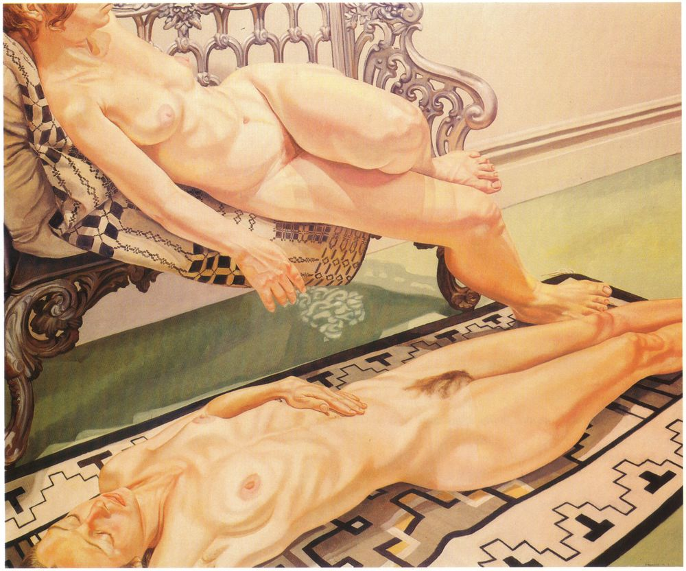 Two Reclining Female Models, One on the Floor, One on the Iron Bench , 1973 Oil on canvas 60 x 72 in