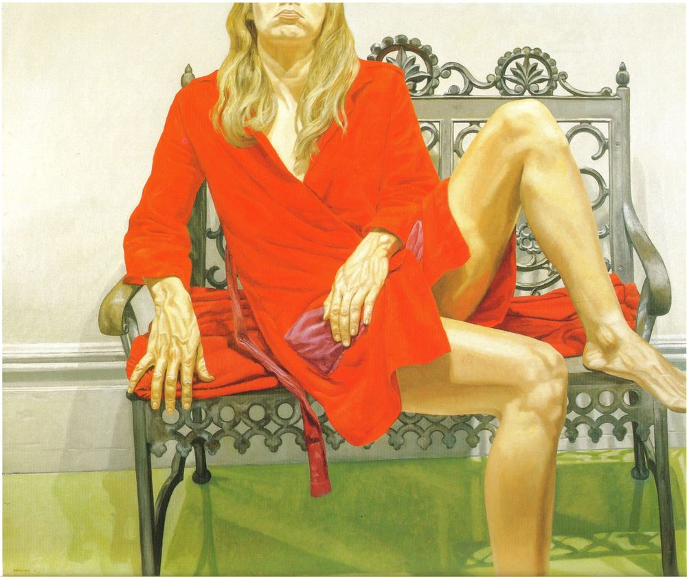 Female Model in Red Bath Robe on Wrought Iron Bench , 1972 Oil on canvas 60 x 72 in