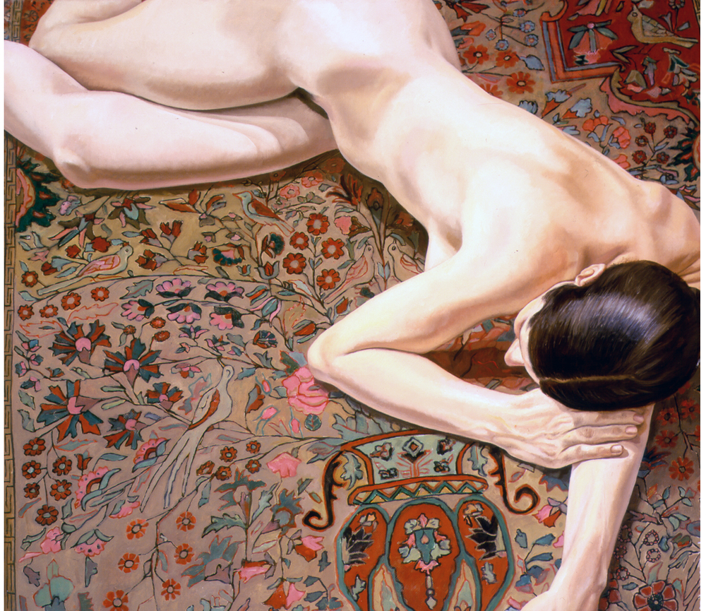 Female Nude on Persian Rug , 1972 Oil on canvas 42 x 48 in