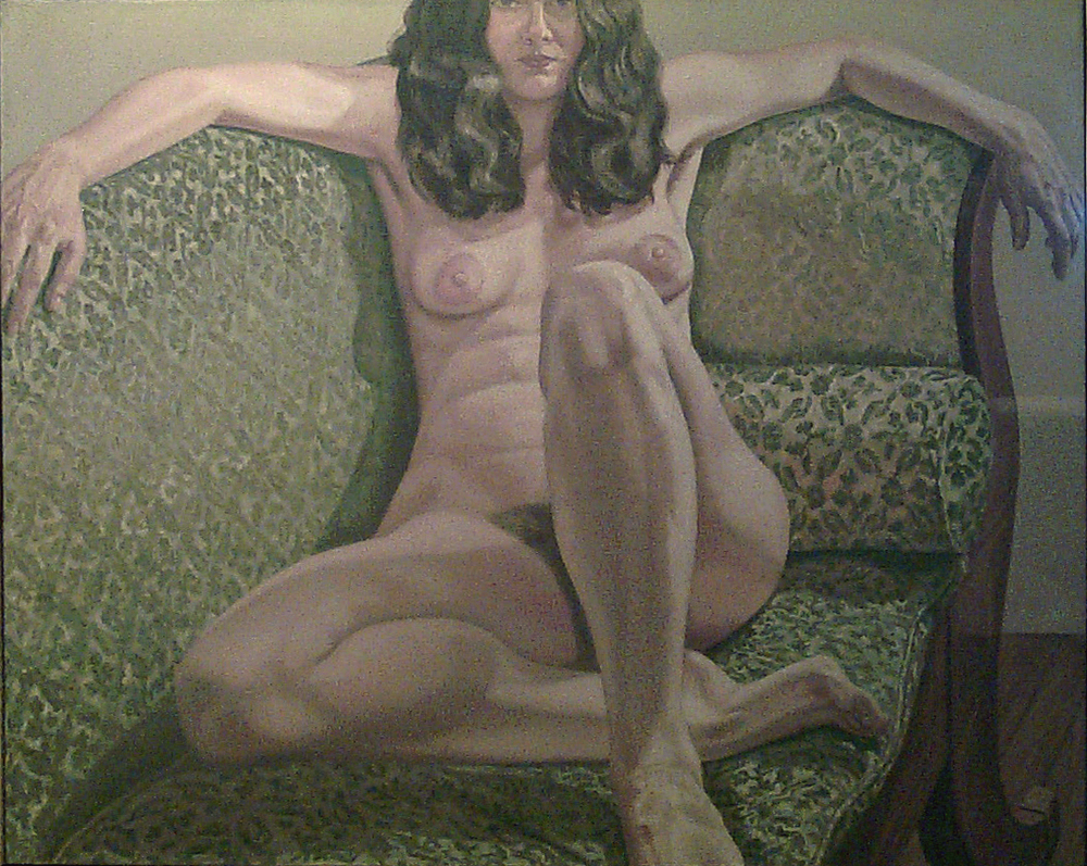 Female Model on Green Sofa , 1971 Oil on canvas 48 x 60 in