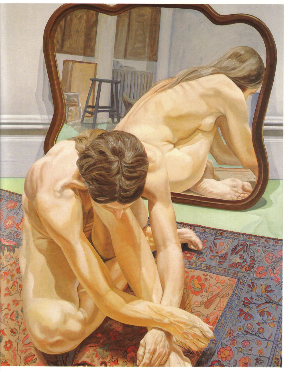 Crouching Female Nude with Mirror , 1971 Oil on canvas 60 x 48 in