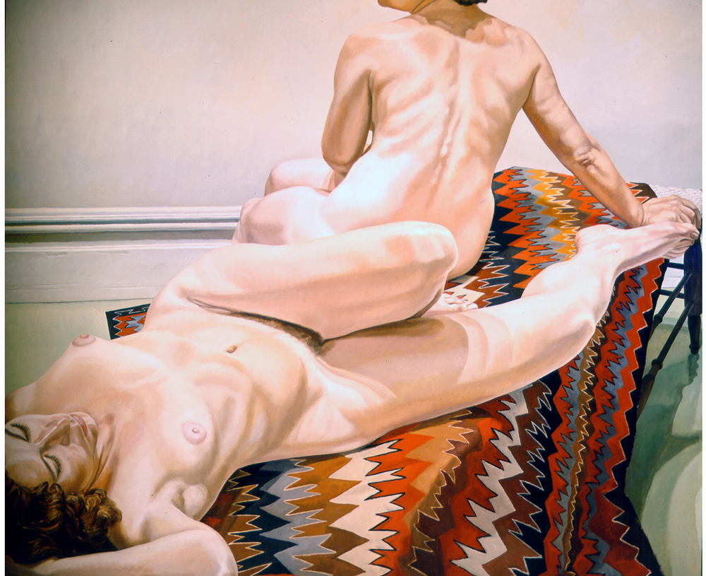 Two Female Models on Navajo Rug , 1971 Oil on canvas 60 x 72 in