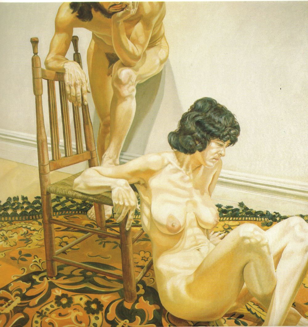 Male and Female Models Leaning on Chair , 1970 Oil on canvas 72 x 72 in