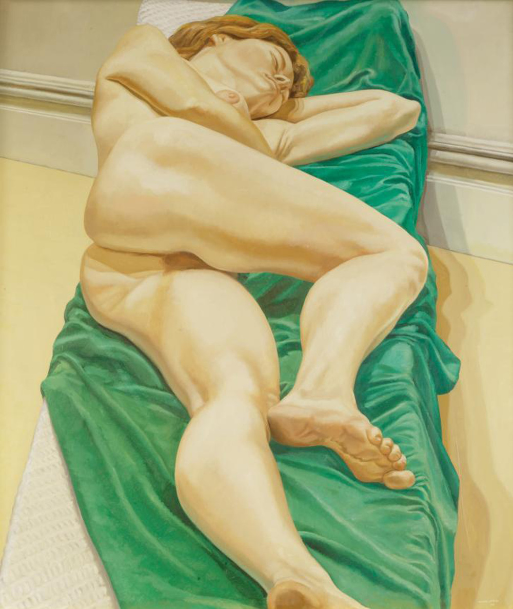Nude on Green Drape , 1970 Oil on canvas 50 x 44 in