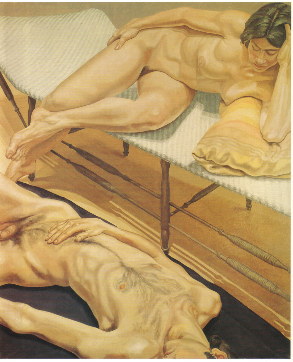 Male and Female Nudes Reclining , 1970 Oil on canvas 71 x 59 in