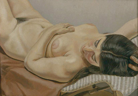 Reclining Nude, Brown Drape , 1970 Oil on canvas 18 x 24 in